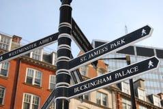 Poste indicador turístico en Londres Fotografía de archivo libre de regalías