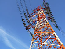 Poste industrial de la línea eléctrica Foto de archivo libre de regalías