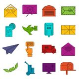 Poste service icons doodle set Stock Photography