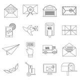 Poste service icons set, flat style Stock Image