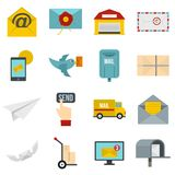 Poste service icons set in flat style Royalty Free Stock Image