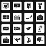 Poste service icons set squares vector Stock Photography