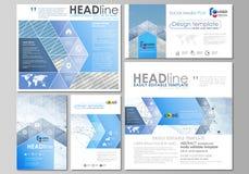 Poste sociali di media messe Modelli di affari Disposizioni di vettore nei formati popolari Estratto blu di colore infographic illustrazione di stock