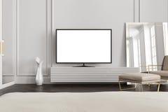 Poste TV d'écran blanc dans un salon gris Photos stock