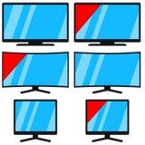 Poste TV moderne noir de bande dessinée d'isolement sur le blanc Images libres de droits