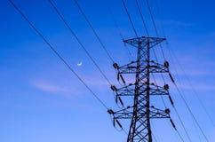 Poste y puesta del sol de la electricidad Fotos de archivo libres de regalías