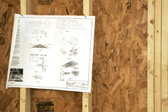 Posted Instructions. Roofing construction plans nailed to studs Stock Image