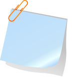 Posted  note  and paperclip Stock Images