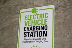 Electric Vehicle parking only area stock photos