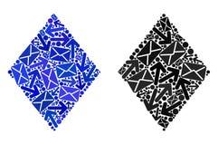 Posten-Bewegungs-Collage gefüllte Rauten-Ikonen lizenzfreie abbildung