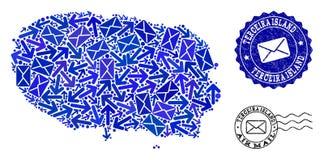 Posten-Lieferungs-Zusammensetzung der Mosaik-Karte der Insel-und Bedrängnis-Stempel Terceira stock abbildung
