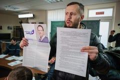 Postende pro Russische politieke partij Stock Foto's