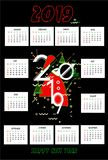 2019 calendar design with black background stock illustration