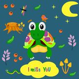 Poster I miss you with a colorful turtle - vector illustration, eps vector illustration