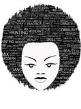 Poster. African-American woman's face with the text Royalty Free Stock Photo