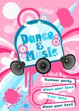 Poster. Illustration of dance and music poster with pastel colors background Stock Images