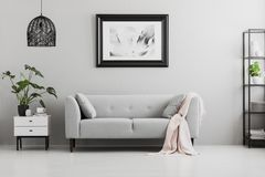 Poster above grey sofa with pink blanket in living room interior