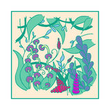 Poster with abstract floral pattern Royalty Free Stock Photography
