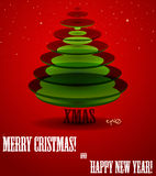 Poster with abstract X-mas tree. Vector illustration EPS10 Royalty Free Stock Photos
