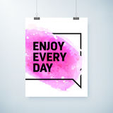 Poster abstract watercolor design with motivation text Stock Photography
