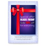 Poster for ads of Black Friday Sale. Special offer 50 percent off. Gift box with red ribbon and bow. Decoration elements. For winter retail, shopping actions on stock illustration