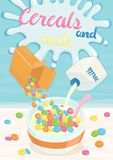 Cereals and milk poster royalty free illustration