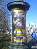 Poster with the advertisement of the future concert Guns n Roses in Moscow. Moscow. April. 2018 Royalty Free Stock Photos