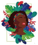 Poster with african american woman`s silhouette and frame formed by tropical leaves stock photo