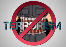 Poster against terrorism Stock Images