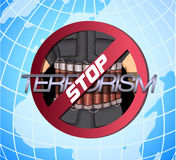 Poster against terrorism. Stop The Terror. Icon against violence and terror Royalty Free Stock Photography