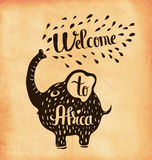 A poster on aged paper. A trip to Africa. Safari. Vector Stock Images