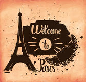 A poster on aged paper. A trip to Paris. European capital of romance. Vector Royalty Free Stock Photography