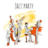 Poster or album cover for jazzband. Concert of jazz music. The Quartet plays jazz. Vector illustration in sketch style Royalty Free Stock Photography