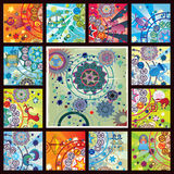 Poster of all zodiacs. Collage from 12 zodiacs and planetarium universe Royalty Free Stock Photography
