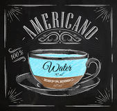 Poster americano chalk. Poster coffee americano in vintage style drawing with chalk on the blackboard Stock Photos