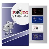 Poster with an amusing character and business cards for a photographer. vector illustration