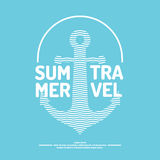 Poster with an anchor, waves and summer travel Stock Photo