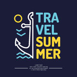 Poster with an anchor, waves and summer travel Royalty Free Stock Photo