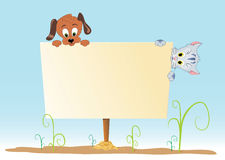 Poster with animal. White board with animals on a green grass Stock Images
