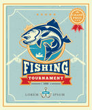 Poster with the announcement of the fishing tournamen. Illustration of a poster with the announcement of the fishing tournamen stock illustration