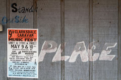 Poster announces The Caravan Clarksdale Festival. CLARKSDALE, MISSISSIPPI, May 8, 2015 : Poster announces The Caravan Clarksdale Blues Festival 2015 on the walls royalty free stock photo