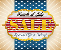 Poster Announcing Special Offers for Independence Day, Vector Illustration. Special sales for American Independence Day celebration Royalty Free Illustration