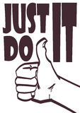Poster with approve hand and signature just do it. Vector eps 10 Royalty Free Stock Photo