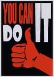 Poster with approve hand and signature you can do it. Vector eps 10 Royalty Free Stock Image