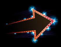 Poster with arrow. Arrow shape neon with star in background Royalty Free Stock Photo