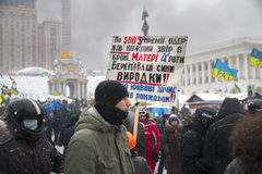 Poster about the atrocities of special forces Berkut. Ukraine, Kiev, 22 January 2014: a clash of radical Protestants Maidan right sector with riot police forces stock photography