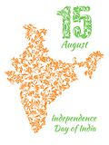 The poster for August 15, India`s Independence Day with a map from a floral ornament. Elegant decorative fonts vector illustration