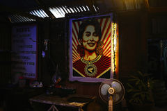 Poster of Aung San Suu Kyi. The poster of Aung San Suu Kyi was hung on the restaurant`s wall in bagan, Myanmar royalty free stock photo