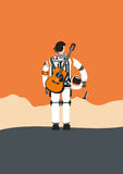 Poster with an austronaut. Poster with an astronaut. Spaceman with an acoustick guitar.Background for music posters Royalty Free Stock Photos
