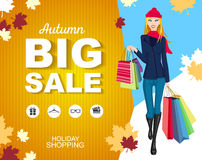 Poster autumn Big sale with icons. Shopping woman Stock Photos